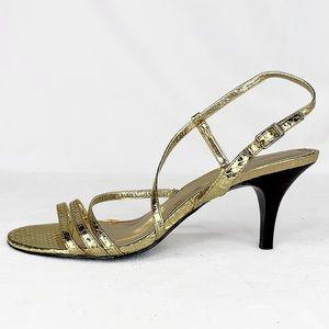 Calvin Klein Gold Snake Print Open Toe Heel 7 NEW